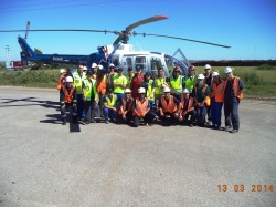 Drill for emergency evacuation by helicopter, Montes del Plata/Uruguay