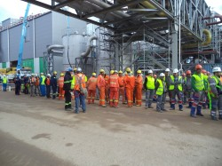 Evacuation drill in Drying Plant, Montes del Plata/Uruguay